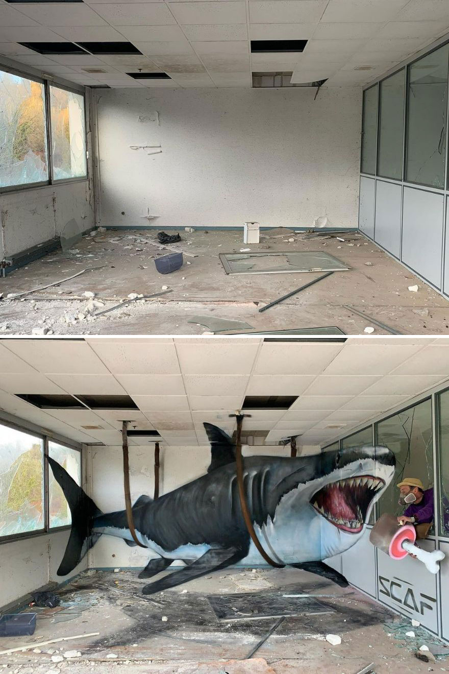 French Artist's Realistic Graffiti Art That Seems To Jump Off The Wall (43 New Pics)