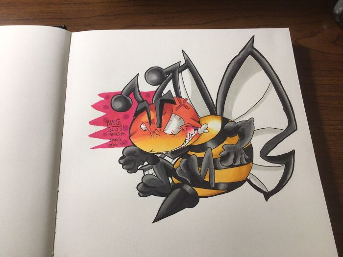 This Is An Artery Hornet Or Bee I Did. I Was Looking Though My Sisters Artwork And I Saw A Circle With Black Stripes And A Small Circle With A Red Face And Angry Eyes. I Redrew It And It Ended Up Being One Of My Favorite Works.