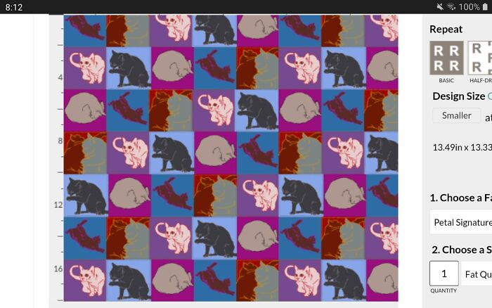Cat Quilt Fabric I Designed (Hand Drawn Pictures Of My Cats) On Spoonflower