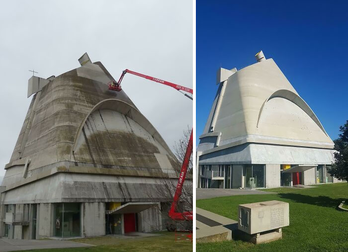 The St. Pierre Church In Firminy, France, By Architect Le Corbusier, Got It's First Ever Power Wash