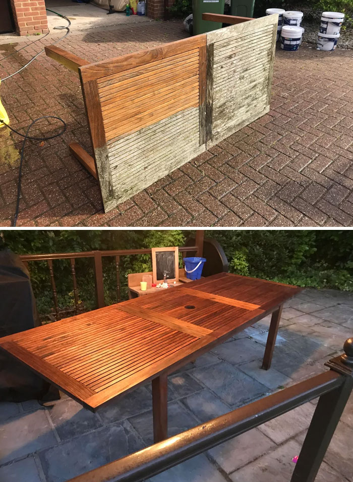 Rescued An Old Rotten Outdoor Table (Pressure Wash, Dry, Sand, Oil)