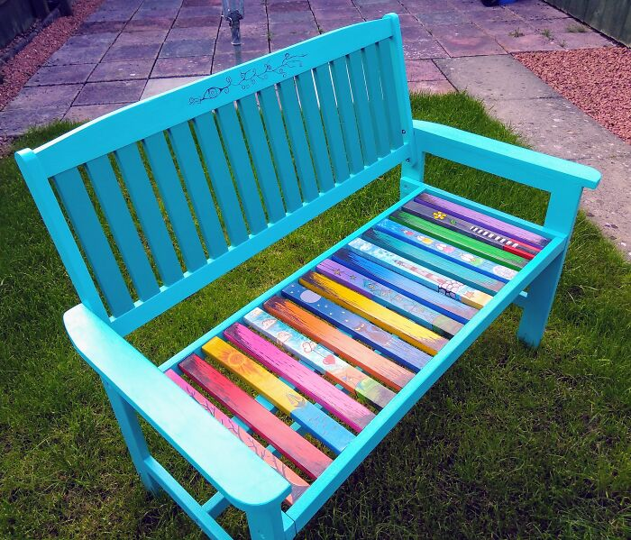 Upcycled A Garden Bench, Every Slat Carefully Hand Painted.