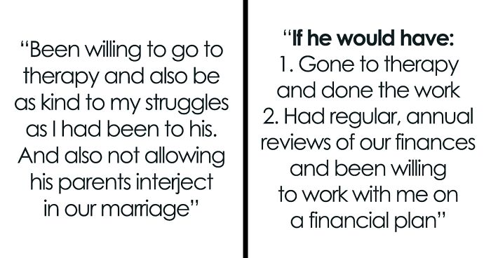 Divorced People Get Honest About What Would Have Saved Their Marriages (70 Posts)