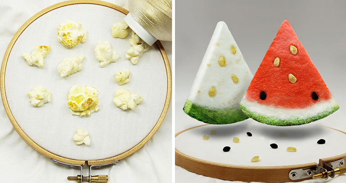 Artist Makes 31 3D Embroideries Of Food, And They Are A Feast For The Eyes
