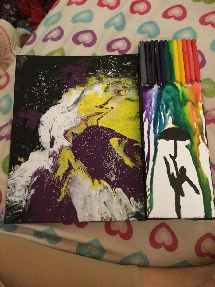 I Have 2! A Dancer Crayon Drip And A Nonbinary Flag Spin Art!