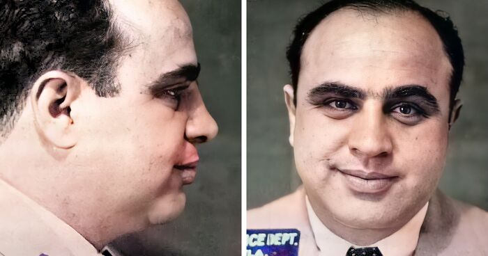 I Restored And Colorized Vintage Mugshots Of Famous People (23 Pics)