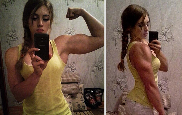 Simply russian woman hurts the old can