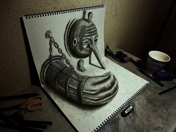 Incredible 3D Pencil Drawings by Nagai Hideyuki
