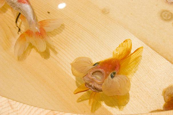 Breathtaking D Goldfish Paintings By R Fukahori Bored Panda - Incredible 3d goldfish drawings using resin