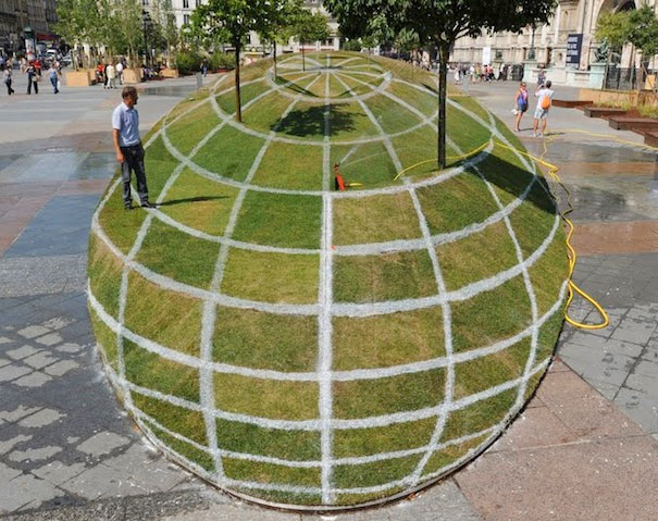 3D Grass Globe Illusion at Paris City Hall