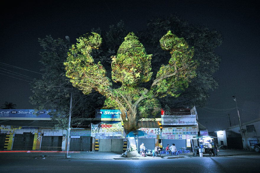 Haunting 3D Projections on Trees by Clement Briend