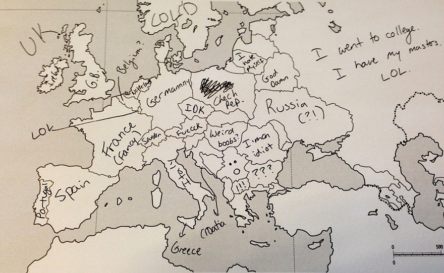 Americans Were Asked To Place European Countries On A Map. Here's What They Wrote: