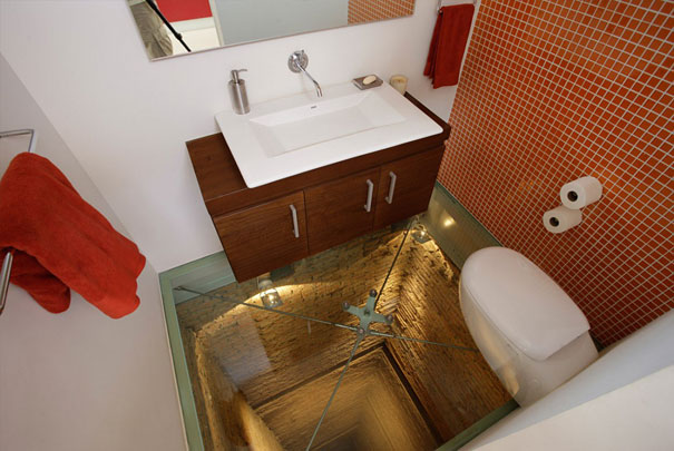 Glass Floor Bathroom Over 15 Story Elevator Shaft