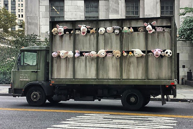 Banksy's Plush Animal Slaughterhouse Truck In NY Highlights Animal Cruelty