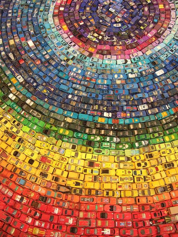 Rainbow Car Atlas Made of 2,500 Toy Cars