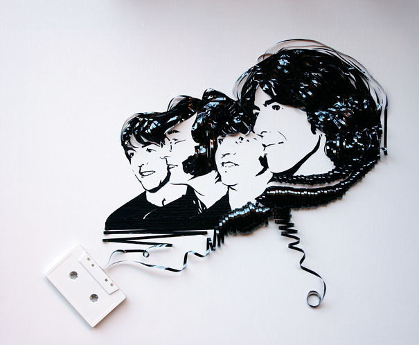 Celebrity Portraits Made Out Of Cassette Tapes