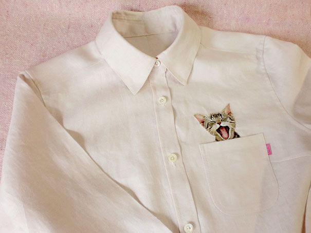 Embroidered cat shirts by hiroko kubota go viral and sell for How to embroider a shirt