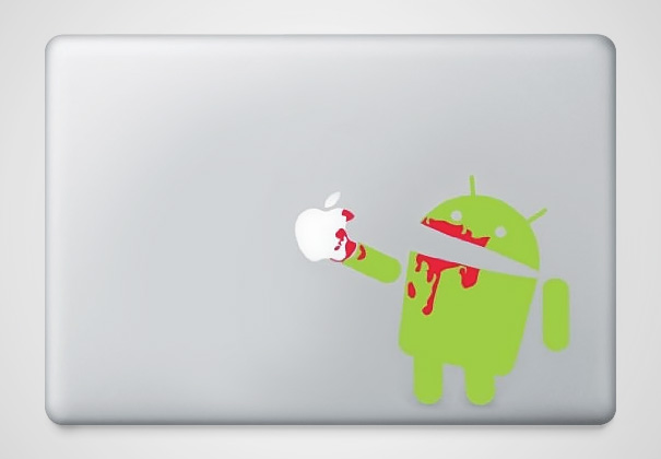 Android eating bloody apple sticker