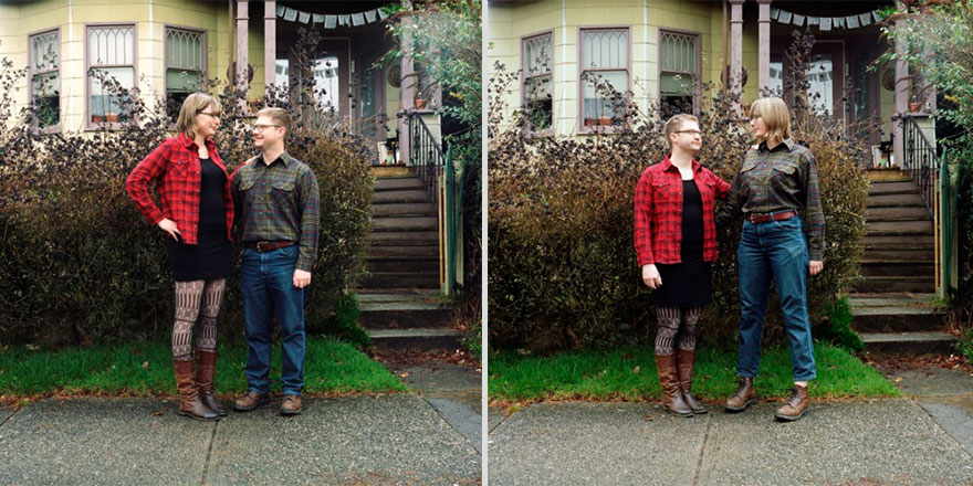 Couples Switch Outfits In Playful Gender Bending Photo