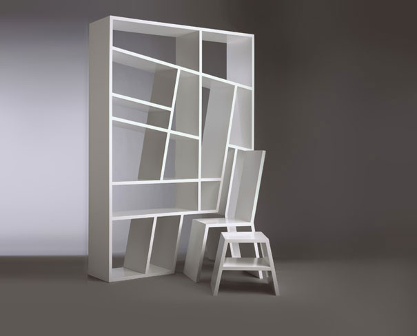 Mdf With Removable Chair And Side Table Shelflife S Striking Angular Earance Belies A Practical Functionality Shelves Prevent Books From