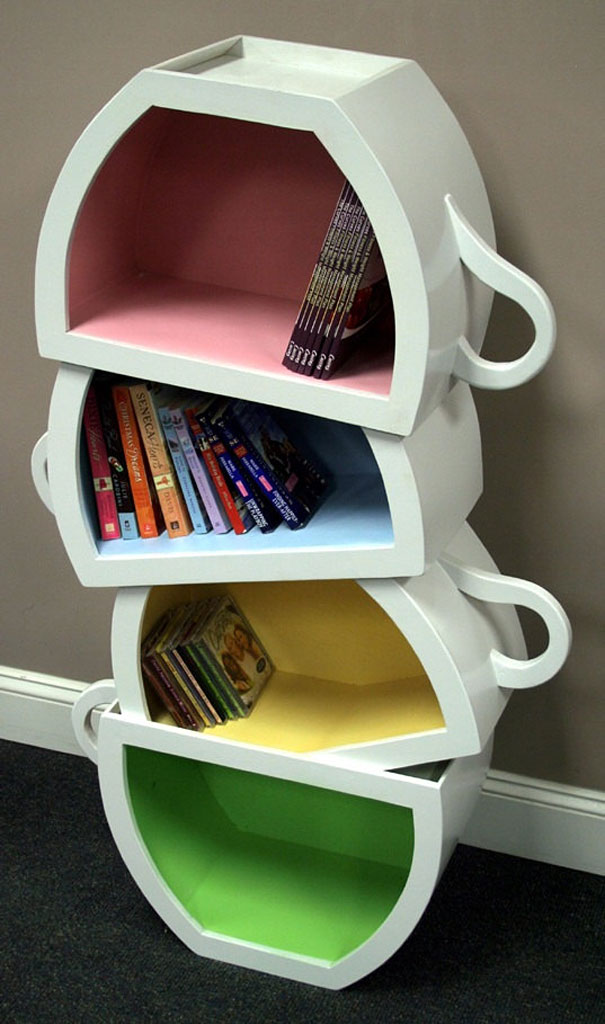 A Cup Of Tea And Good Read Do Go Together Well Which Makes It Easy To Fall In Love Crave This Stacked Teacup Bookshelf Designer Scott Blackwell