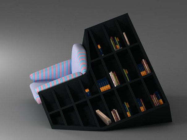 This Original Combination Of An Armchair And A Bookshelf Allows You To  Reach For A New Book Even Without Getting Up. (Designer: Tembolat Gugkaev)