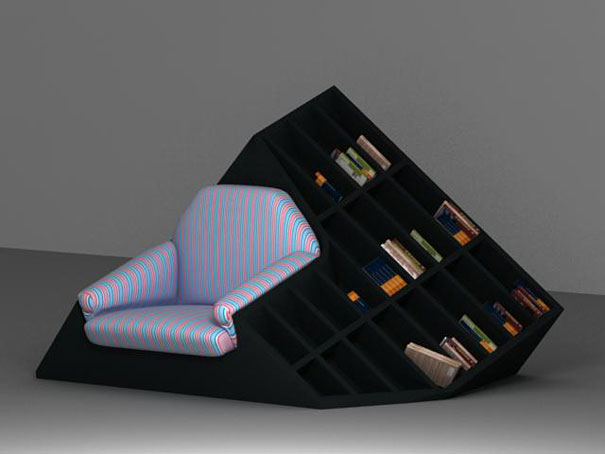 This Original Combination Of An Armchair And A Bookshelf Allows You To Reach For New Book Even Without Getting Up Designer Tembolat Gugkaev