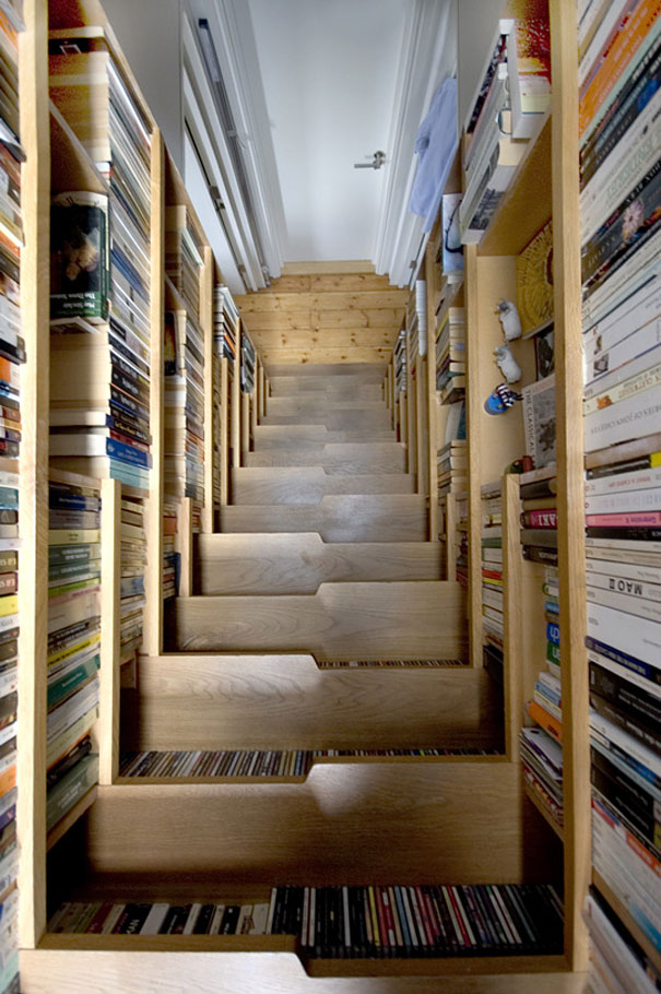 ... Came Up With This Ingenious Solution To A Book Storage Problem And  Created A Loft Like Bedroom Nestled Under The Roof Of The Top Floor  Apartment.