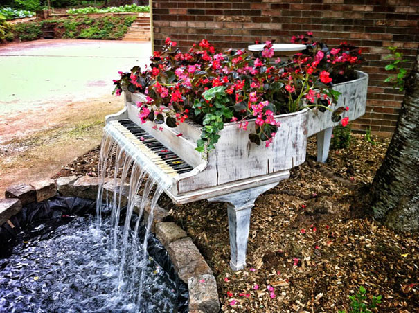 28. Old Piano Into Outdoor Fountain