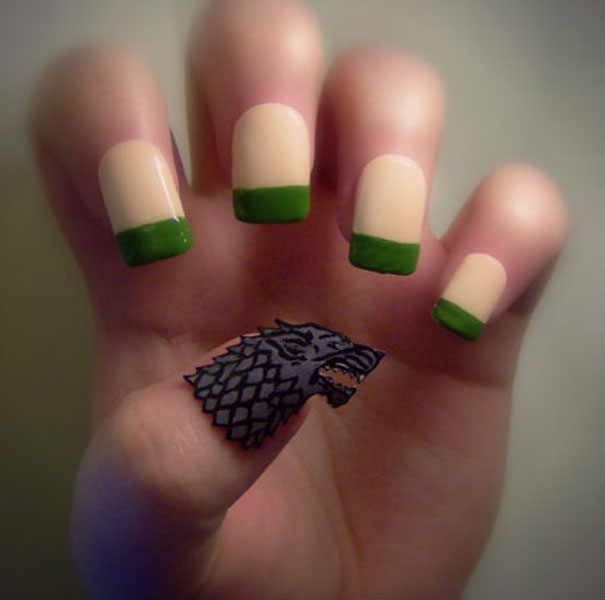 Creative nail art by kayleigh oconnor bored panda game of thrones house stark prinsesfo Gallery