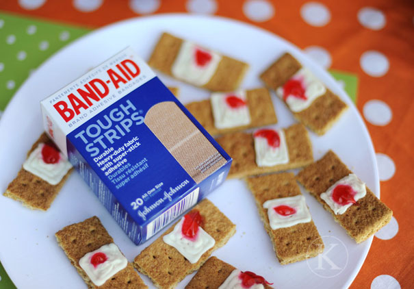 13 band aid cookies - Scary Dishes For Halloween