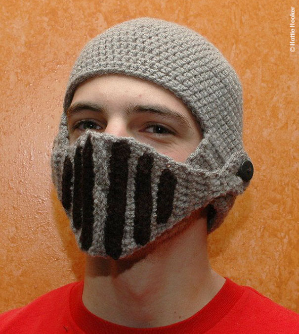 Knitting Pattern Knight Hat : Crocheted Knight s Helmet Cap Bored Panda