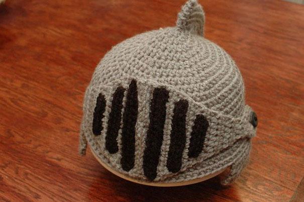Crocheted Knights Helmet Cap Bored Panda