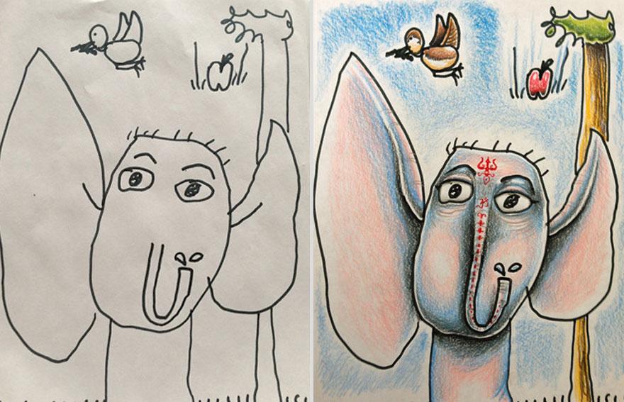 Creative Dad Colors His Kids Drawings Bored Panda