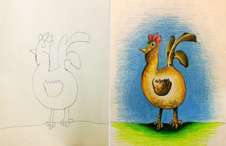 creative dad colors his kids drawings bored panda - Drawings To Paint For Kids