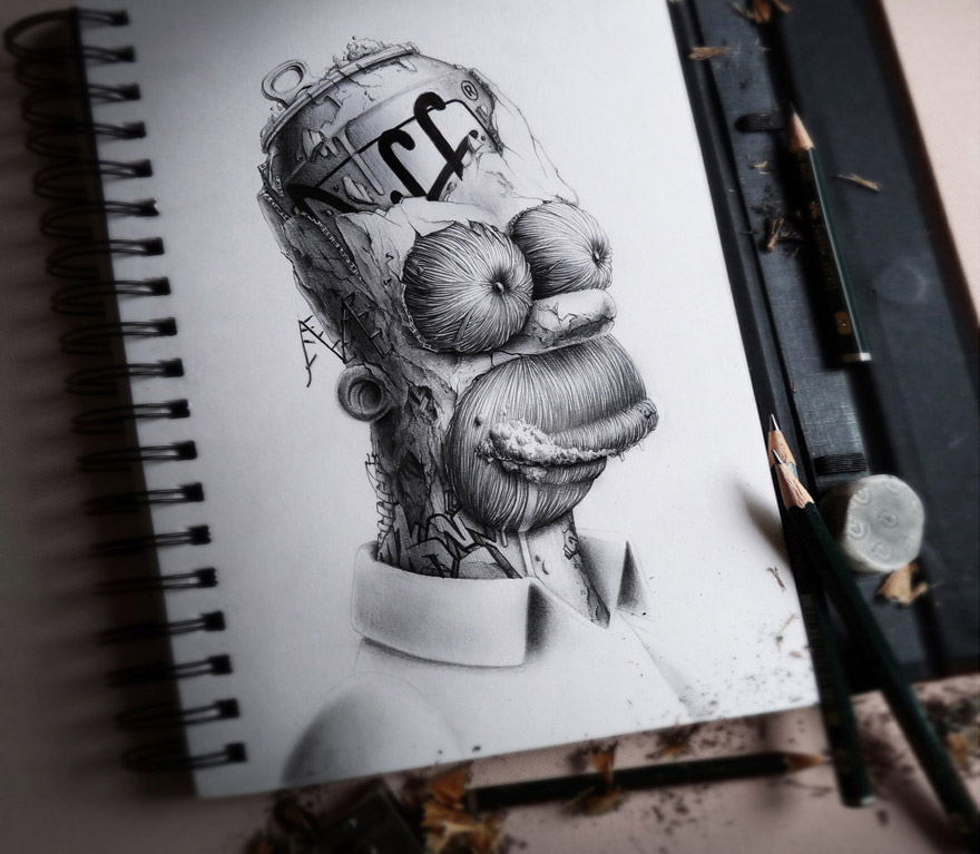 Distroy creepy pencil drawings of famous cartoon characters bored panda