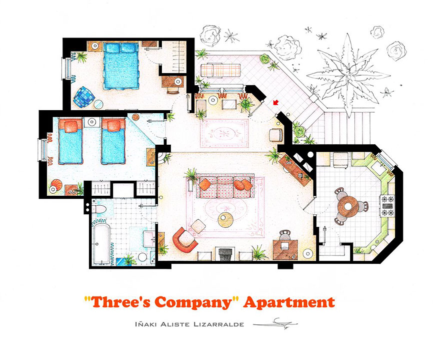 Artist draws detailed floor plans of famous tv shows bored panda threes company malvernweather Images