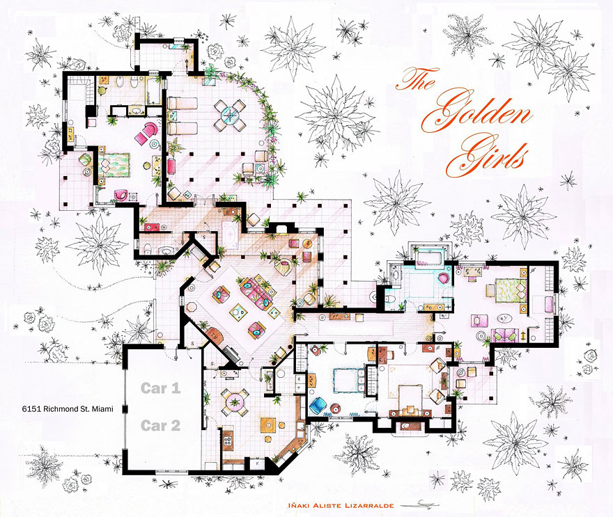 Artist draws detailed floor plans of famous tv shows Two and a half men house plan