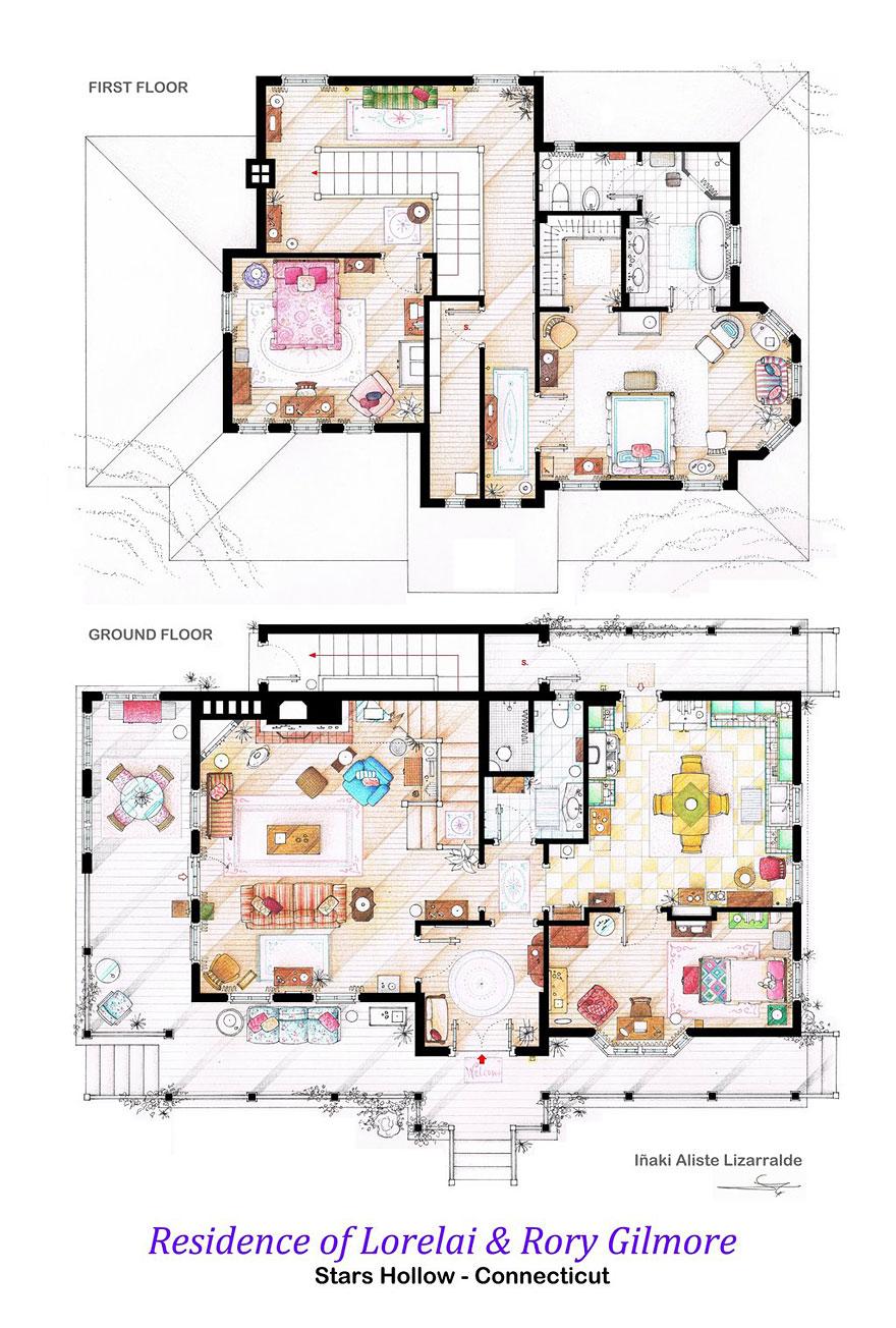 Artist Draws Detailed Floor Plans of Famous TV Shows   Bored PandaGilmore Girls