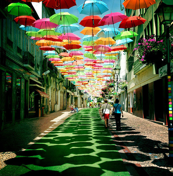 Hundreds of Floating Umbrellas Above a Street in Agueda, Portugal