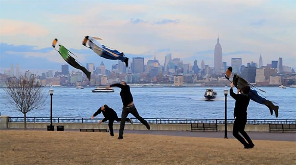 People Flying Over New York City