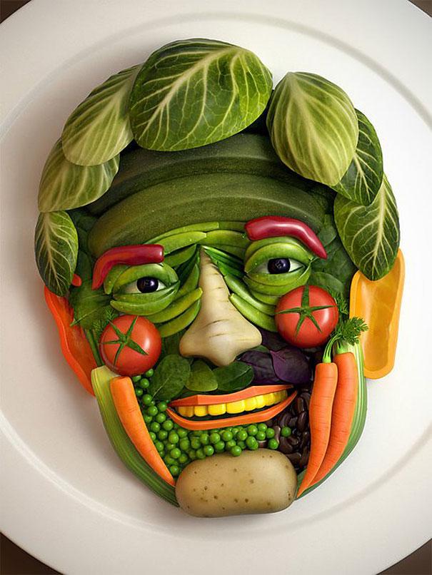 9 vegetable face - Food Design Ideas
