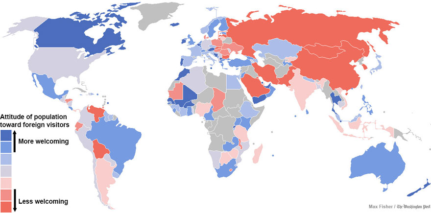 map of countries most and least welcoming to foreigners