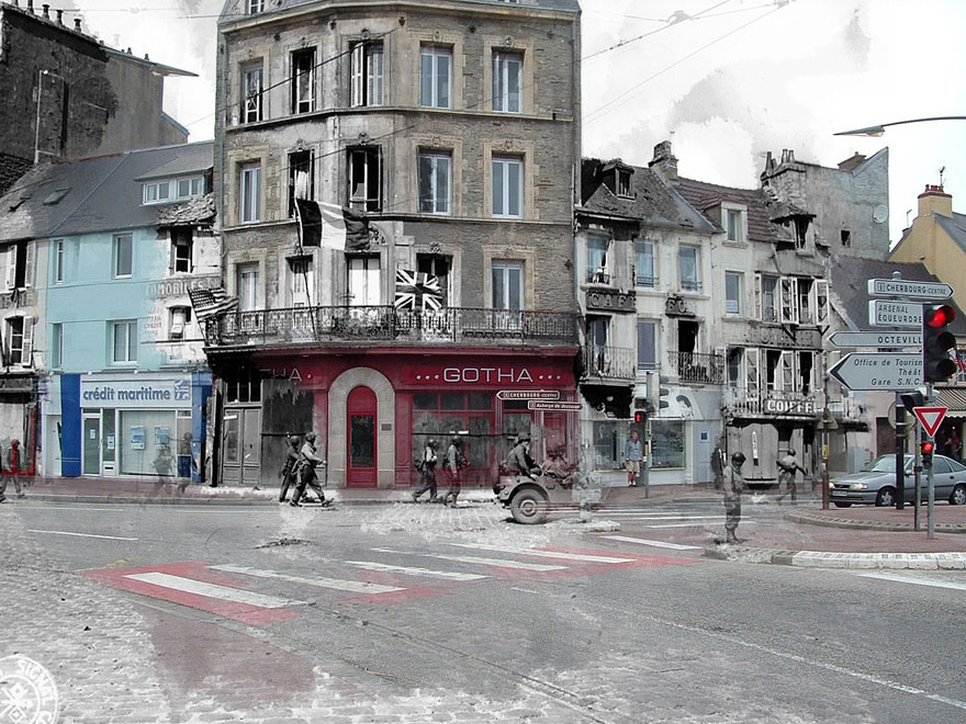 Ghosts of War: WWII Photos Superimposed on to Modern Street Scenes