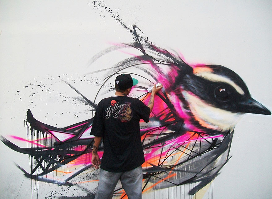 Mesmerizing Graffiti Birds on the Streets of Brazil by L7m