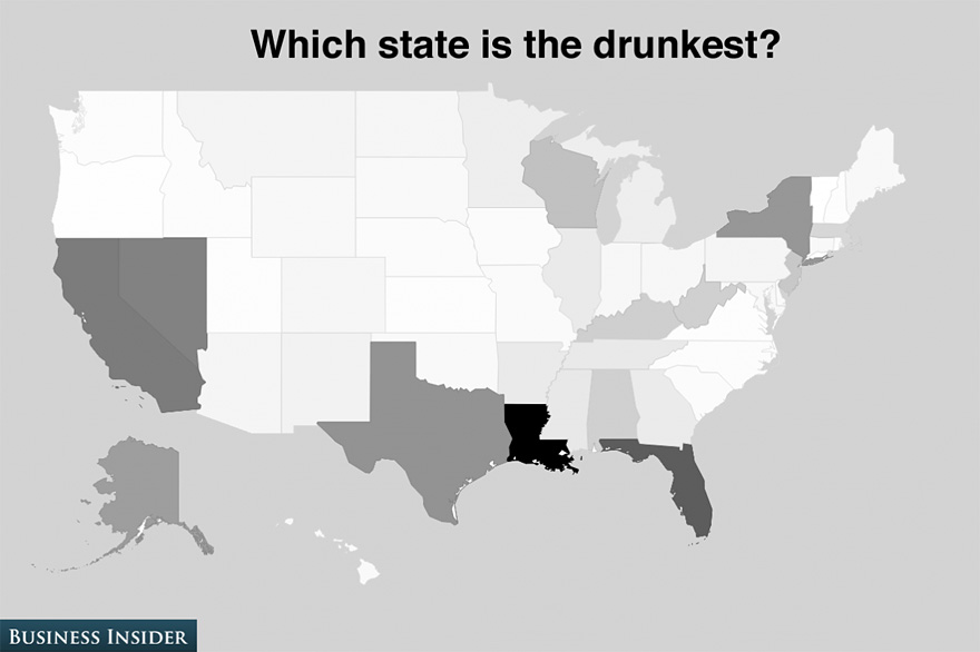 Poll Reveals The USAs Drunkest Hottest And SilliestSounding - Us poll map state