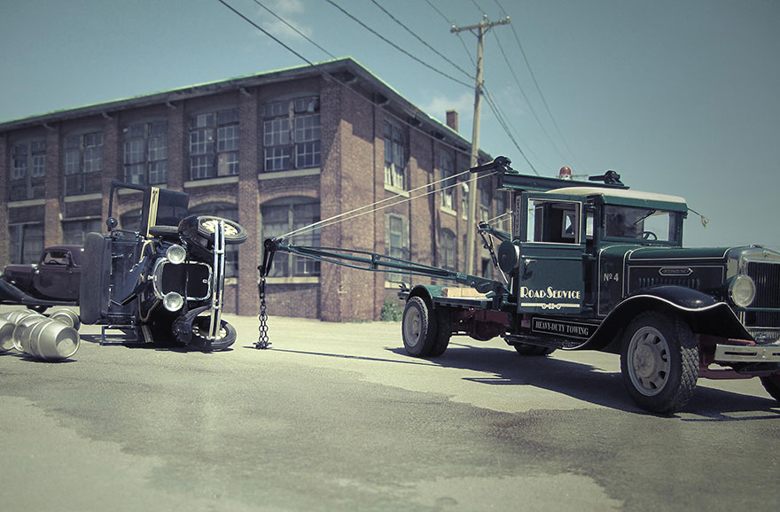 Car Town Iphone >> Artist Uses Perspective, Miniature Car Models And A $250 Camera To Create Realistic Historical ...