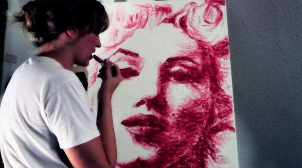 Natalie Irish Paints With Her Lips