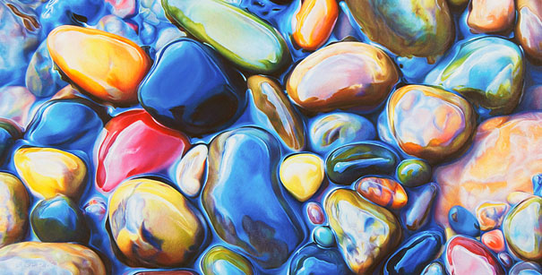 These Colorful Rocks Are Actually Pencil and Crayon Drawings
