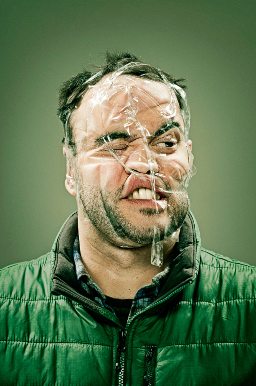 Distorted Scotch Tape Portraits by Wes Naman